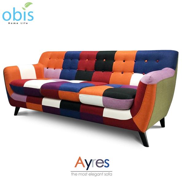 沙發 三人沙發 Ayres現代風拼色設計獨立筒三人布沙發【obis】