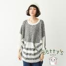 betty's貝蒂思 混色條紋飛鼠袖毛衣(灰色)