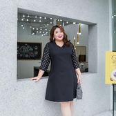 【降價兩天】加大碼女裝 2019胖mm春夏裝200斤 顯瘦時尚OL波點黑色V領連身裙