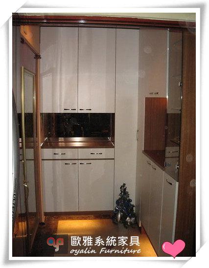 【系統家具】玄關L型鞋櫃結合茶鏡