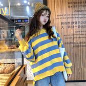 2019新款韓版套頭衛衣女春秋條紋寬鬆bf百搭洋氣薄款外套潮