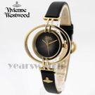 【萬年鐘錶】 Vivienne Westwood  英國 戀愛假期土星環型皮革輕量款  金x黑  35mm  VV133BKBK