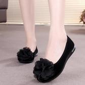 布鞋女鞋平底軟底黑布鞋平跟低筒鞋花朵工作鞋舞蹈鞋媽媽鞋 韓小姐