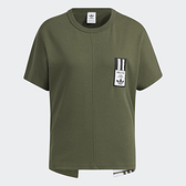 Adidas ORIGINALS ADIBREAK 女裝 短袖 休閒 V 形開衩 刺繡 純棉 綠【運動世界】HC6569