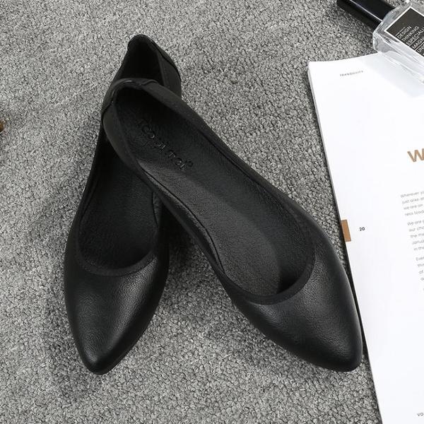 平底鞋軟底工作鞋女黑色平底鞋大碼職業空姐鞋女尖頭單鞋皮鞋舒適上班鞋晴天時尚