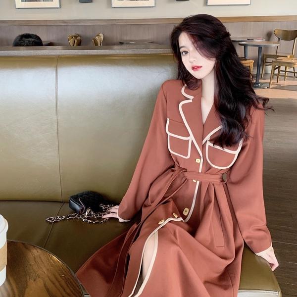 超殺29折 韓國風名媛撞色包邊氣質修身大衣長袖洋裝
