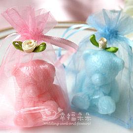 婚禮小物 玫瑰紗袋裝泰迪熊香皂-迎賓送客禮/贈品/二次進場/婚禮小物/畢業禮 幸福朵朵