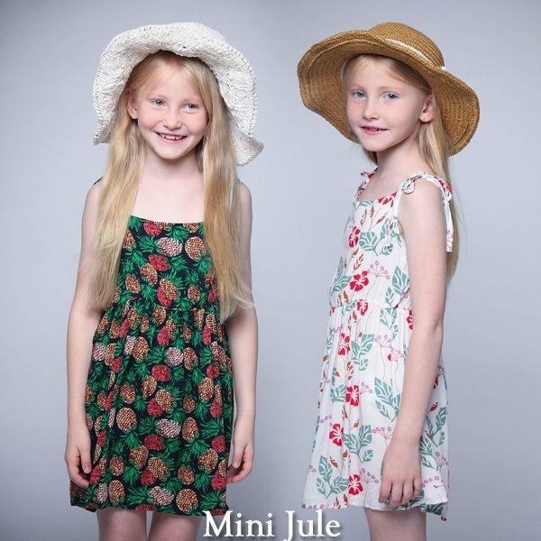 Mini Jule 童裝 洋裝 紅花綠葉/配色鳳梨綁帶細肩帶洋裝(共2色)