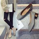奶奶鞋中跟粗跟單鞋女韓版百搭淺口方頭工作鞋子女  魔法鞋櫃