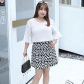 中大尺碼~甜美桃心圖案短裙(XL~4XL)