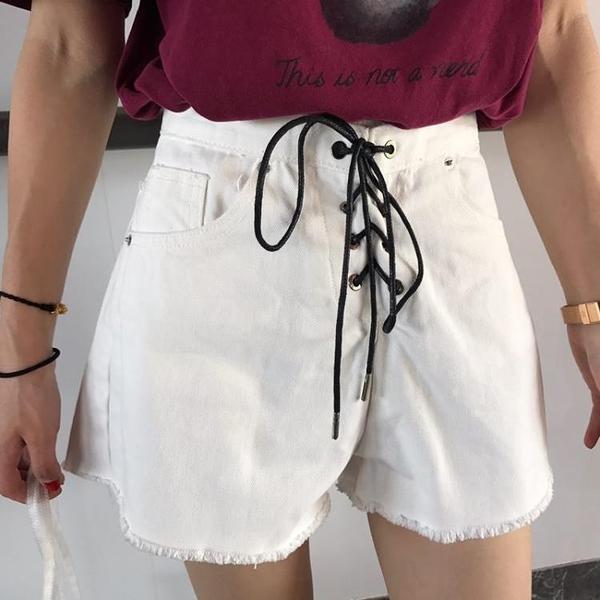 [超豐國際]夏裝綁帶拼接做舊毛邊寬松闊腿短褲顯瘦高腰牛仔褲女1入
