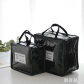 韓版手提包飯盒袋漆皮PU野餐包保冷冰包午餐便當包女包防水保溫袋IP5268【雅居屋】