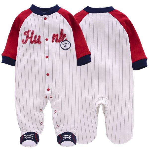 長袖連身兔裝 紅白棒球裝 全開扣寶寶連身包腳衣.嬰兒包腳連身衣