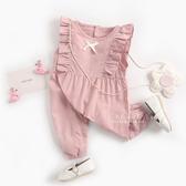 蝴蝶結連體長褲無袖包屁衣 連身衣 哈衣 兔裝 寶寶服