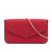 【LV】Monogram 牛皮附活動式零錢袋/鈔票袋鍊包(紅色) M63700