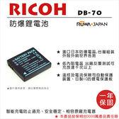 御彩數位@樂華 RICOH DB-70 副廠電池 DB70 (S008) 外銷日本 原廠充電器可用 全新保固一年 禮光
