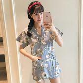 日式和服睡衣女純棉短袖甜美天大碼針織棉小清新家居服薄款   居家物語