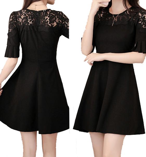 喜宴圓領蕾絲肩五分袖洋裝 (黑 紅)二色售 11850054