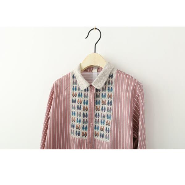 上衣 日森清新蕾絲條紋二色-月兒的綺麗莊園