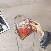 小包包女韓版透明果凍鍊條單肩斜背小方包潮 俏腳丫