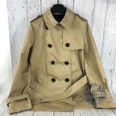 BRAND楓月 COACH 蔻馳 卡其 蜜蜂金 經典 CC紋 飾邊 黑 內裡 雙排扣 短 風衣 大衣 外套 修身 服飾
