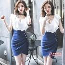 假兩件洋裝 夜店套裝女裝夏季韓版夜場ol氣質時尚無袖v領假兩件包臀連身裙潮