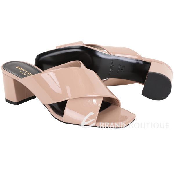 YSL Saint Laurent LOULOU 漆皮交錯低跟涼拖鞋(粉膚色) 1920599-E2