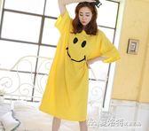 寬鬆大碼純棉睡裙女夏季韓版卡通長款短袖T恤裙休閒可愛睡衣長裙 夏洛特居家