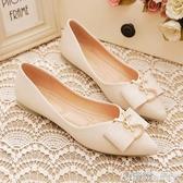 平跟單鞋女春季尖頭淺口豆豆鞋軟底韓版潮鞋社會單鞋