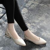 低跟鞋單鞋女2018新款女鞋子夏季韓版時尚尖頭淺口百搭低跟皮鞋 法布蕾輕時尚