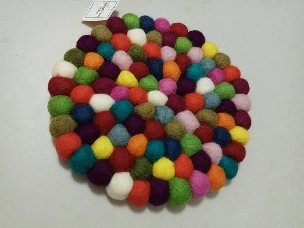 尼泊爾進口100%羊毛製圓形餐桌墊