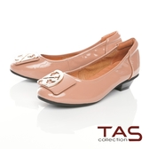 TAS造型飾釦拼接鬆緊帶娃娃鞋-百搭膚