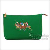 POLO 經典三馬騎士帆布手拿化妝包(綠)