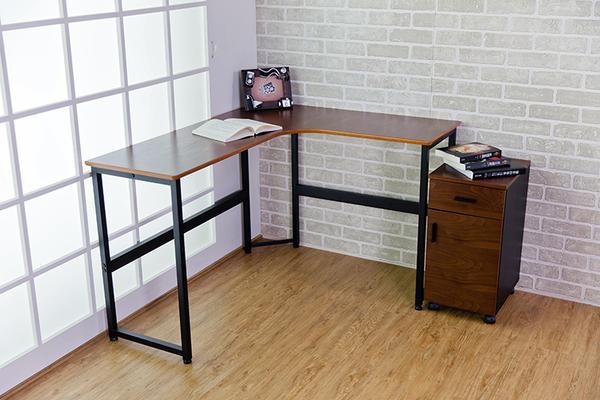 辦公桌/電腦桌/書桌/L型書桌/一體成形桌面 MIT台灣製/胡桃木色【51588-2】Tasteful 特斯屋
