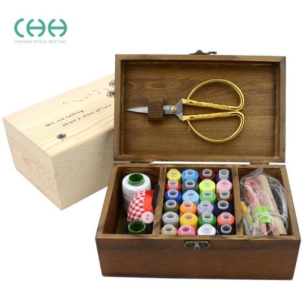 CHH韓版木質針線盒套裝家用手縫線實木收納盒針線包縫補工具套裝 青木鋪子