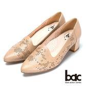 ★2018春夏新品★bac   時尚經典雷射雕花高跟樂福鞋(奶茶色)