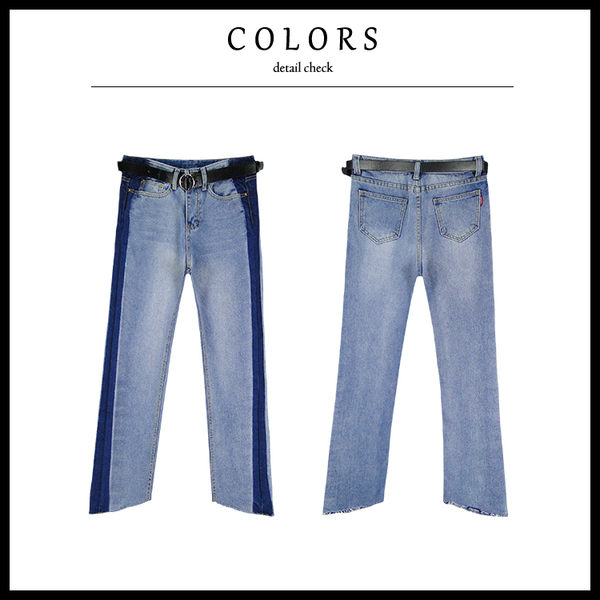 Melek 長褲類 (共1色) 現貨 【B12170112-33-L~S】女款男友褲側深藍配色牛仔 寬褲/直筒褲