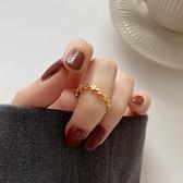 DEBY18K鍍金戒指女輕奢鑲鑚食指環個性設計莫桑鑚純銀錬條開口戒 幸福第一站