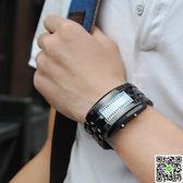 情侶手錶手錶男創意個性青少年學生女士led時尚潮流新概念情侶防水電子表 歡樂聖誕節