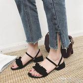 兩穿涼鞋女仙女風春季韓版百搭學生羅馬鞋中跟女鞋潮   歌莉婭