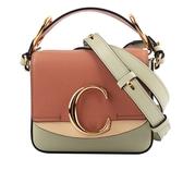 【CHLOE】(展示品)Mini C Bag拼色拼皮革手提/斜背兩用包(薄荷綠) CHC20AS193D0438A