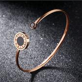【5折超值價】【316L西德鈦鋼】日韓流行18K玫瑰金羅馬數字開口手環