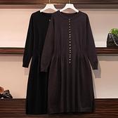 洋裝針織裙連身裙中大尺碼XL-4XL新款簡約純色打底衫圓領打底裙秋冬寬鬆毛衣裙4F072-9035.胖胖唯依