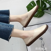 豆豆鞋女2020春季新款平底單鞋牛筋軟底懶人一腳蹬媽媽白色護士鞋『蜜桃時尚』