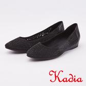 kadia.典雅水鑽牛皮拼接沖孔包鞋(0016-90黑色)