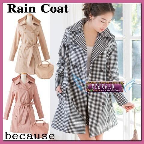 單格子風雨衣 日本韓國 時尚雨衣 收腰修身 女戶外雨披- 99205