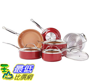 [8美國直購] 陶瓷鍋鈦合金不沾鍋  Red Copper 10 PC Copper-Infused Ceramic Non-Stick Cookware Set by