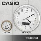 CASIO專賣店 CASIO 卡西歐 掛鐘 IC-02-7DF 白框 復古圓形掛鐘 溫溼度顯示 (另有兩色)