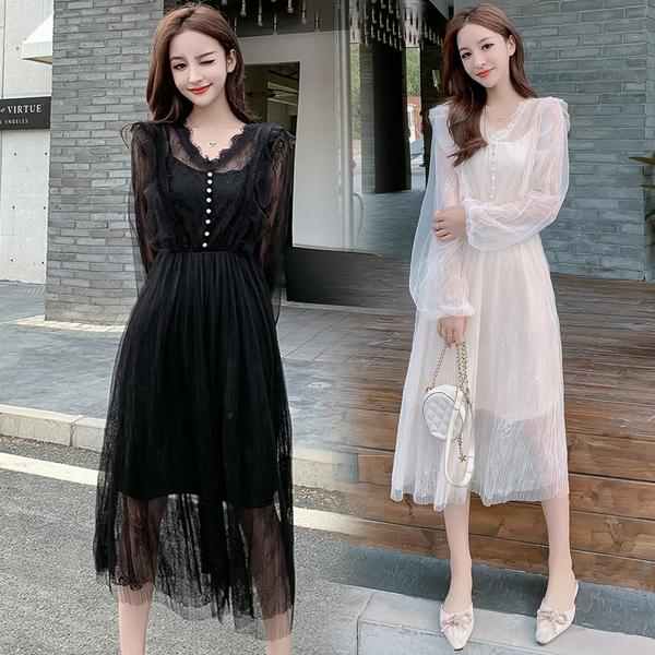 絕版出清 韓系蕾絲拼接網紗修身顯瘦氣質長袖洋裝