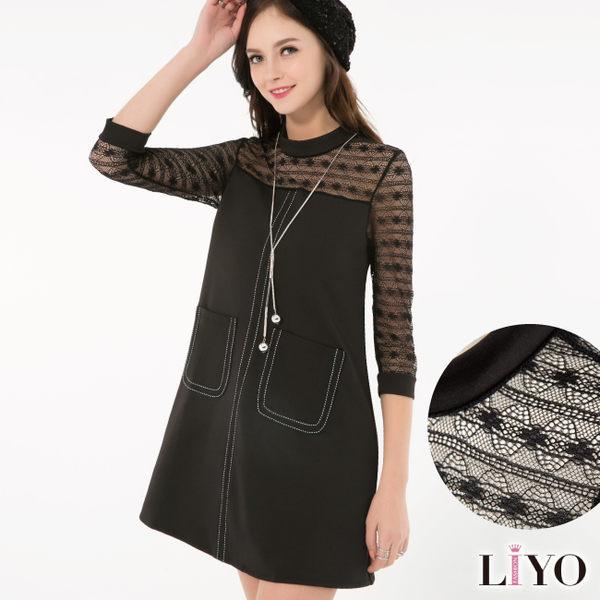 LIYO理優歐風蕾絲拼接洋裝O636011